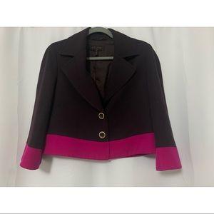 Escada Purple Color Block Cropped Blazer Size 6